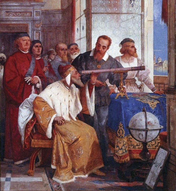Detalle dunha pintura de Giuseppe Bertini que mostra Galilei Galileo que explica o funcionamento do seu telescopio no Doge de Venecia'une peinture de Giuseppe Bertini qui montre Galilei Galileo expliquant le fonctionnement de son télescope au doge de Venise