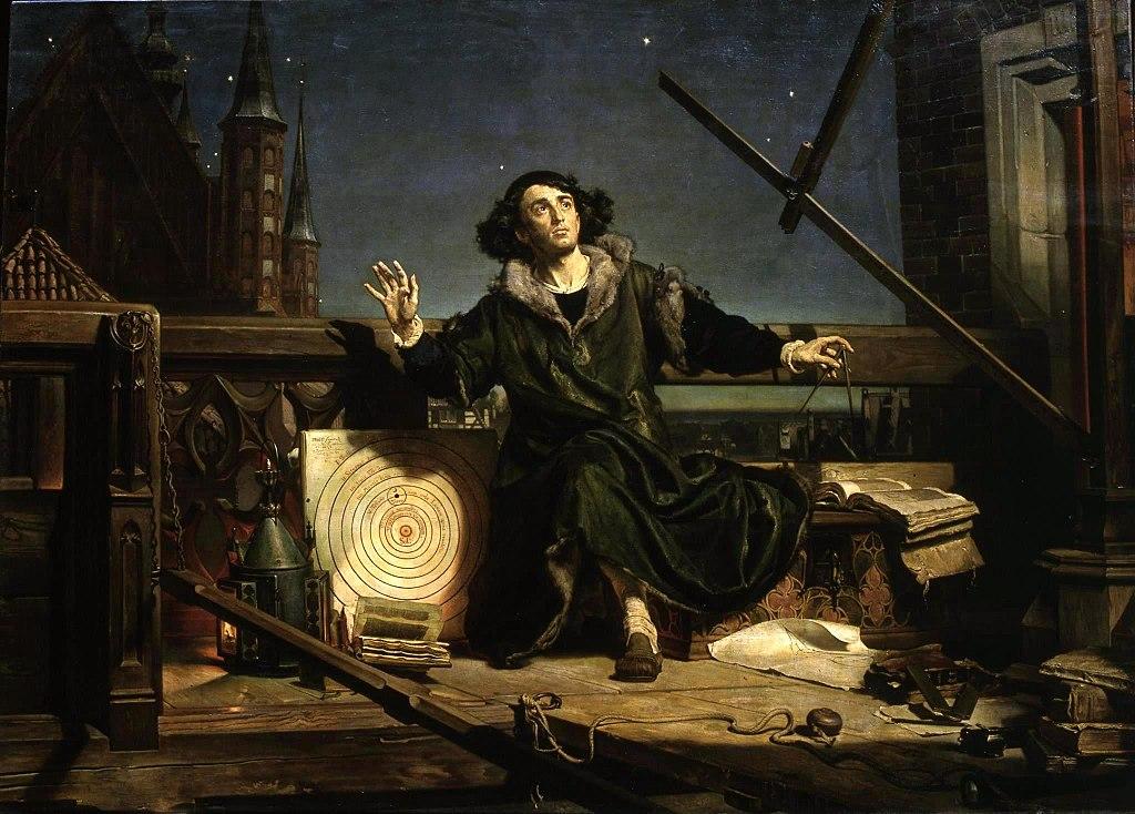 Conversación con Deus, unha pintura de Jan Matejko mirando Copérnico eo seu modelo heliocéntrico.